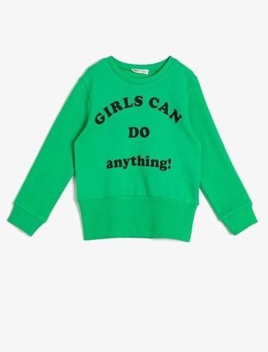 Koton Kids Yazılı Baskılı Sweatshirt Yeşil